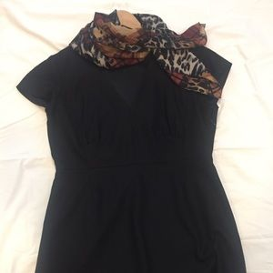 JCrew black wool v neck dress in size 12